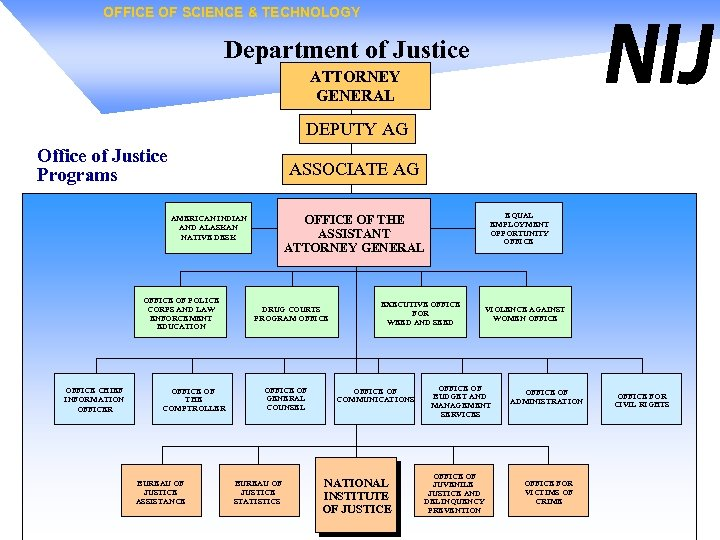 OFFICE OF SCIENCE & TECHNOLOGY Department of Justice ATTORNEY GENERAL DEPUTY AG Office of