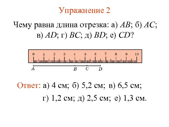 Упражнение 2 Чему равна длина отрезка: а) AB; б) AC; в) AD; г) BC;