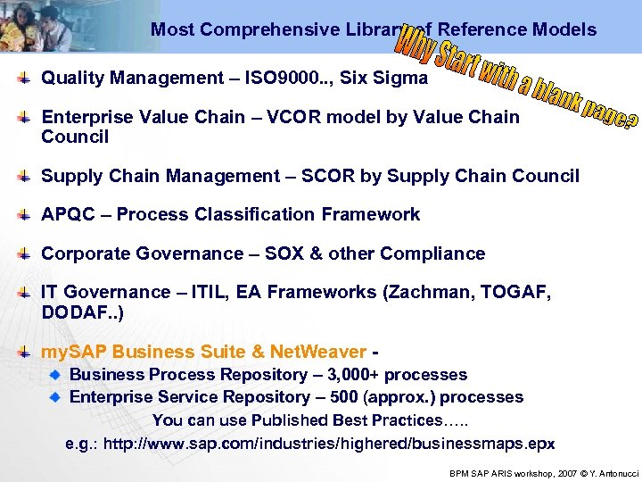 Most Comprehensive Library of Reference Models Quality Management – ISO 9000. . , Six