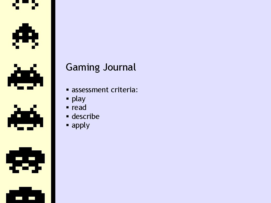 Gaming Journal assessment criteria: play read describe apply