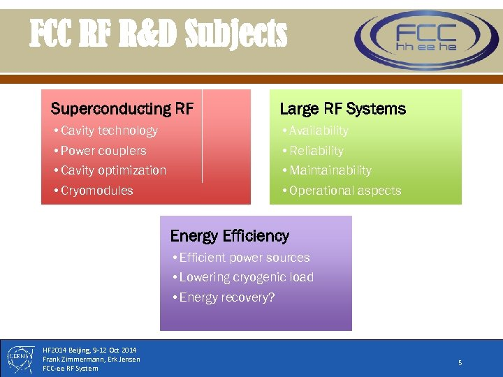 FCC RF R&D Subjects Superconducting RF Large RF Systems • Cavity technology • Power