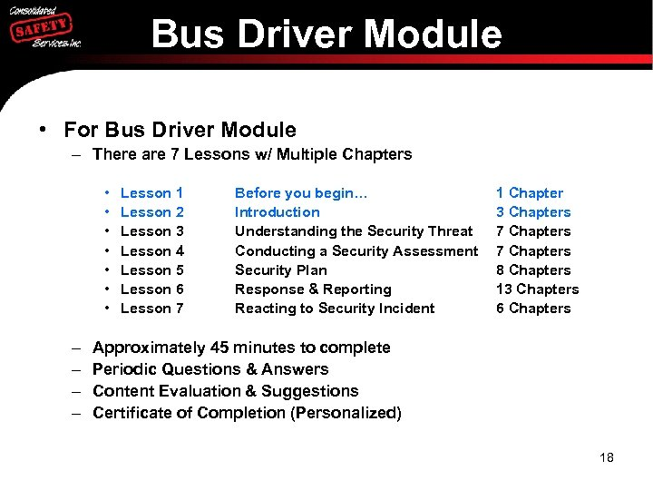 Bus Driver Module • For Bus Driver Module – There are 7 Lessons w/