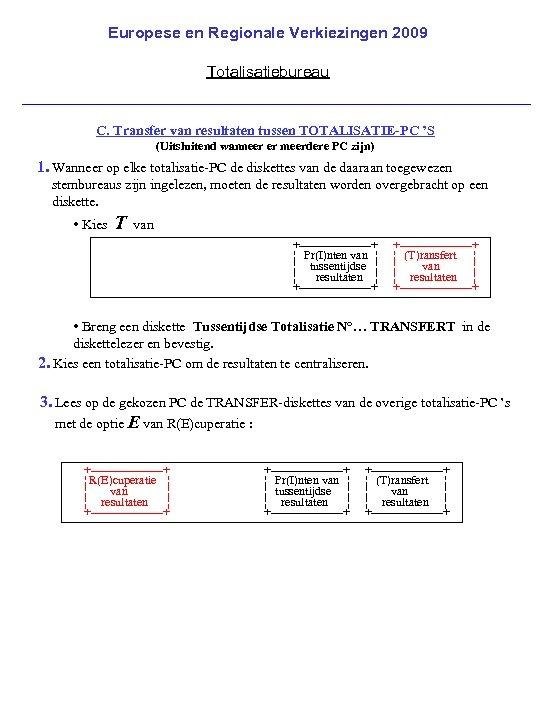 Europese en Regionale Verkiezingen 2009 Totalisatiebureau C. Transfer van resultaten tussen TOTALISATIE-PC 'S (Uitsluitend