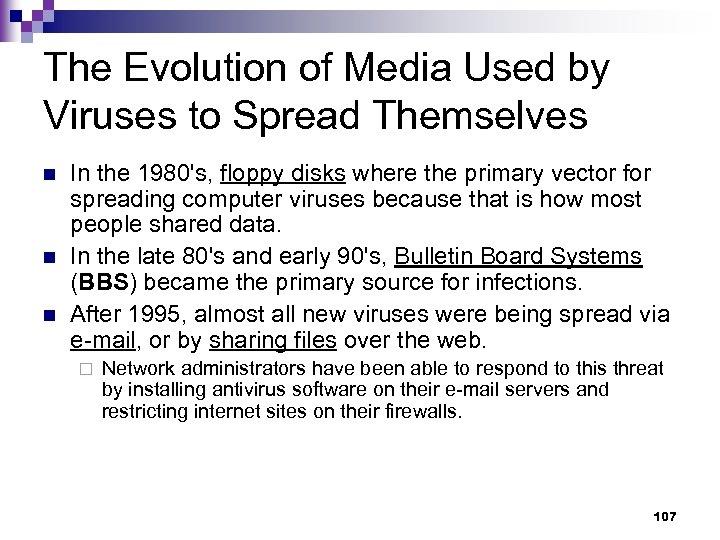 The Evolution of Media Used by Viruses to Spread Themselves n n n In