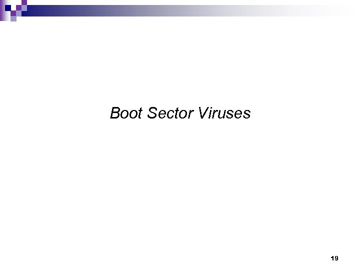 Boot Sector Viruses 19