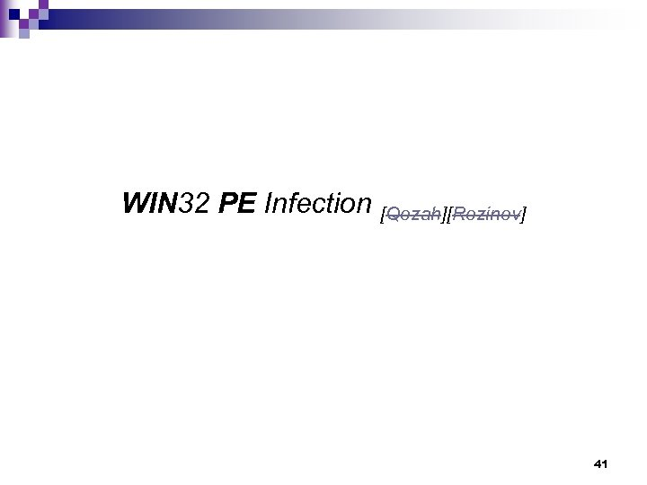 WIN 32 PE Infection [Qozah][Rozinov] 41