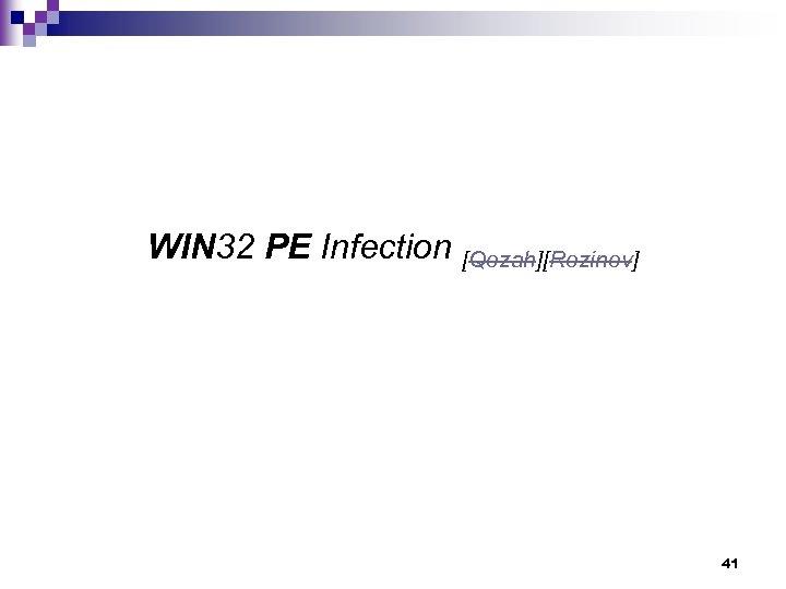 WIN 32 PE Infection [Qozah][Rozinov] 41