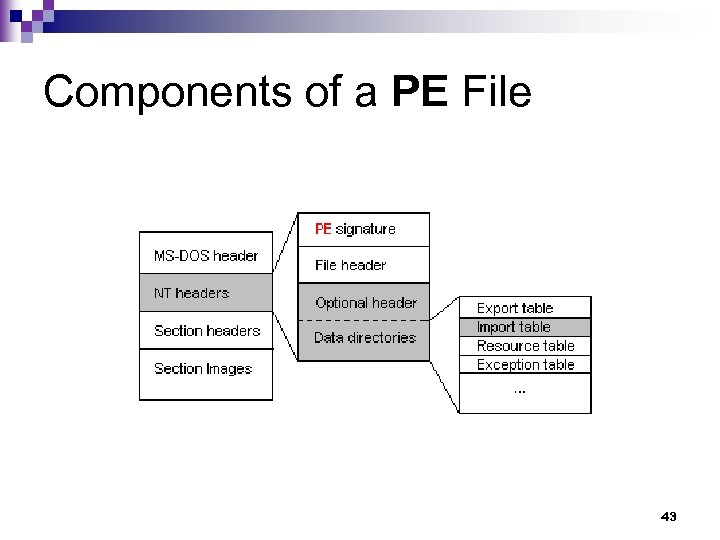 Components of a PE File 43