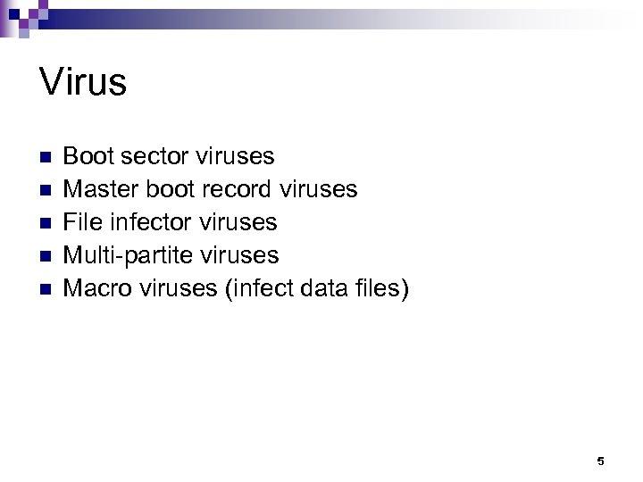Virus n n n Boot sector viruses Master boot record viruses File infector viruses