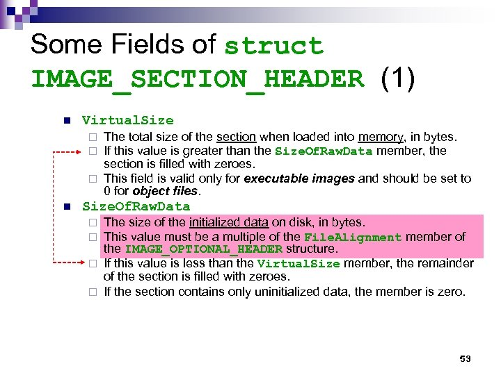 Some Fields of struct IMAGE_SECTION_HEADER (1) n Virtual. Size The total size of the