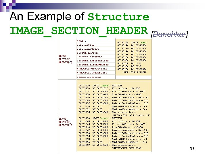 An Example of Structure IMAGE_SECTION_HEADER [Danehkar] 57