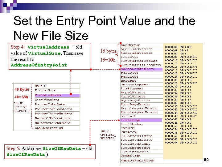 Set the Entry Point Value and the New File Size Step 4: Virtual. Address