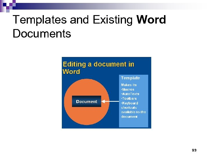 Templates and Existing Word Documents 93