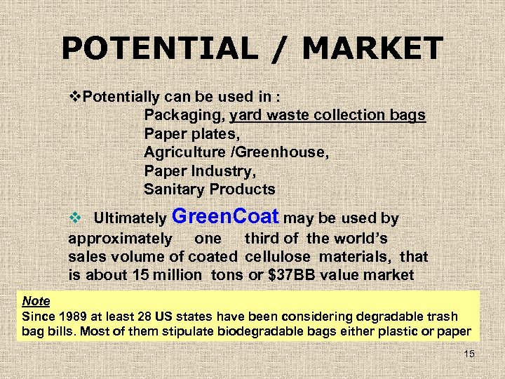 POTENTIAL / MARKET v. Potentially can be used in : Packaging, yard waste collection