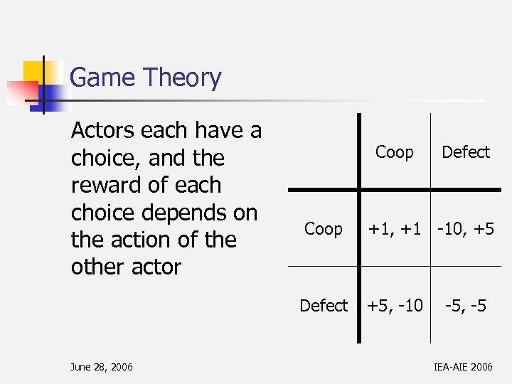 Game Theory Actors each have a choice, and the reward of each choice depends