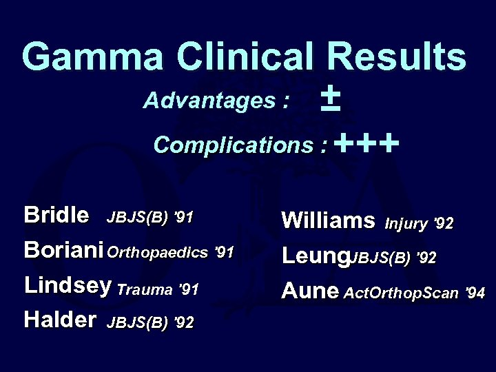 Gamma Clinical Results Advantages : ± Complications : +++ Bridle JBJS(B) '91 Boriani Orthopaedics