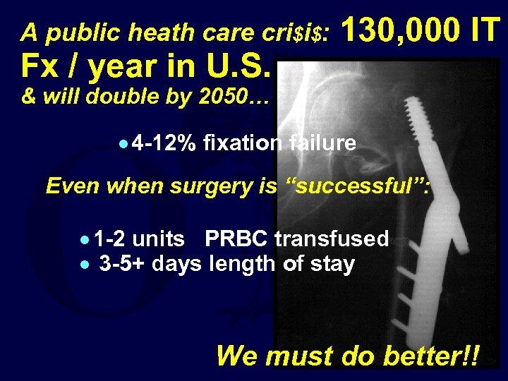 A public heath care cri$i$: Fx / year in U. S. 130, 000 IT