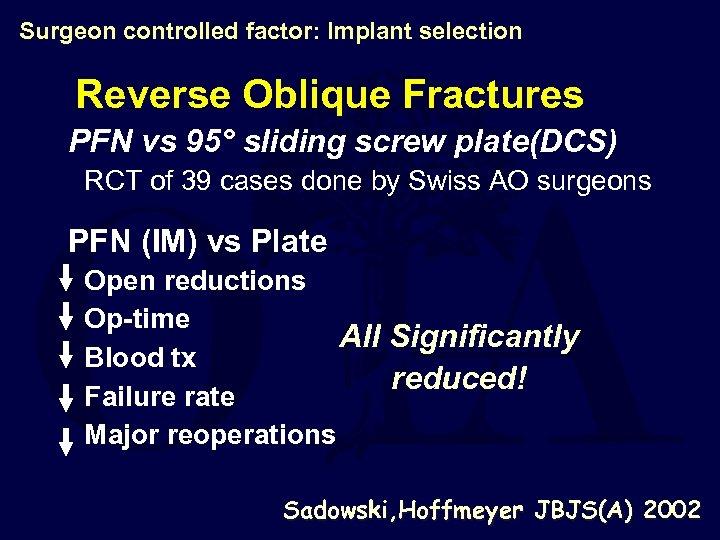 Surgeon controlled factor: Implant selection Reverse Oblique Fractures PFN vs 95° sliding screw plate(DCS)