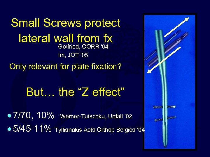 Small Screws protect lateral wall from fx Gotfried, CORR ' 04 Im, JOT '
