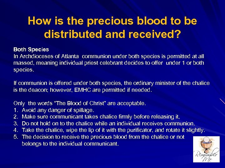 How is the precious blood to be distributed and received? Both Species In Archdioceses