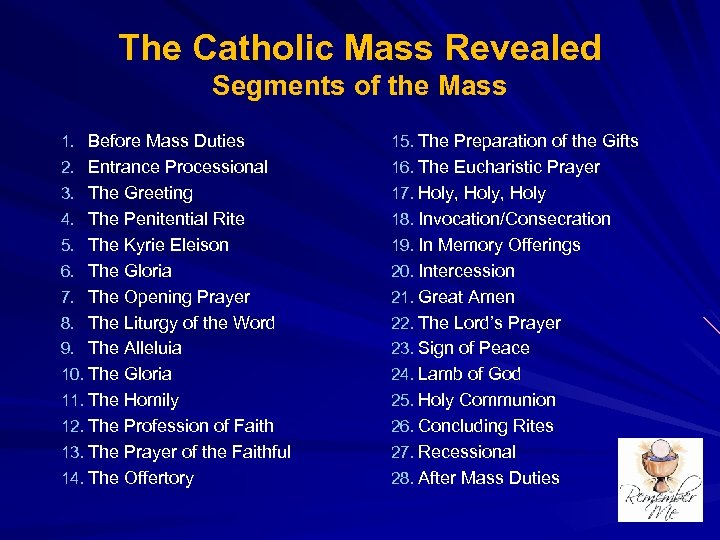 The Catholic Mass Revealed Segments of the Mass 1. Before Mass Duties 15. The