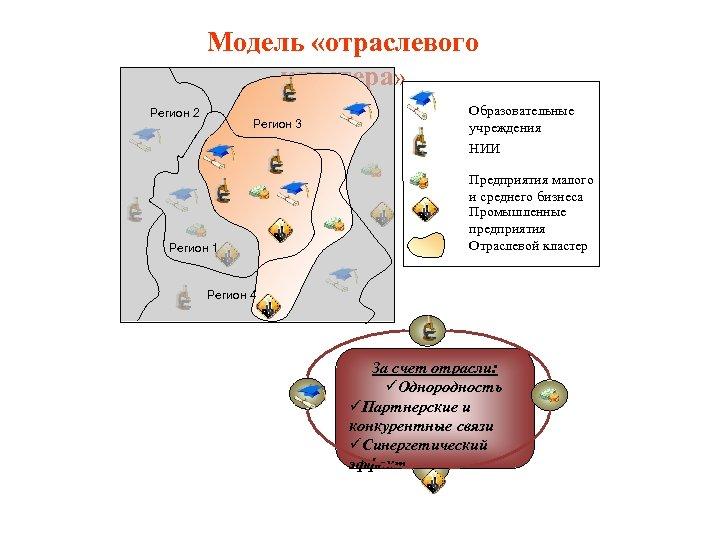 Модель «отраслевого кластера» Регион 2 Регион 3 Регион 1 Образовательные учреждения НИИ Предприятия малого