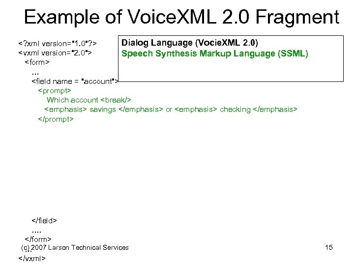 Example of Voice. XML 2. 0 Fragment Dialog Language (Vocie. XML 2. 0) <?