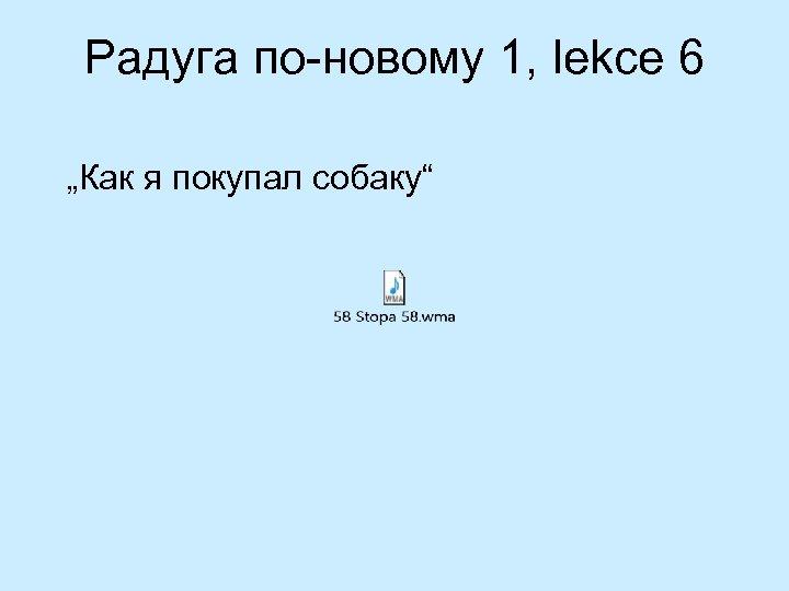 """Радуга по-новому 1, lekce 6 """"Как я покупал собаку"""""""