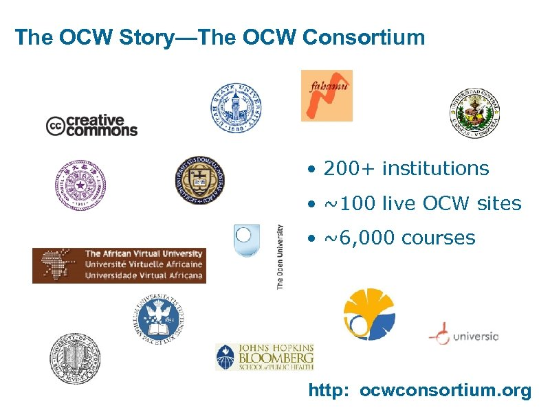 The OCW Story—The OCW Consortium • 200+ institutions • ~100 live OCW sites •