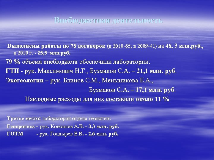 Внебюджетная деятельность Выполнены работы по 78 договоров (в 2010 -65; в 2009 -41) на