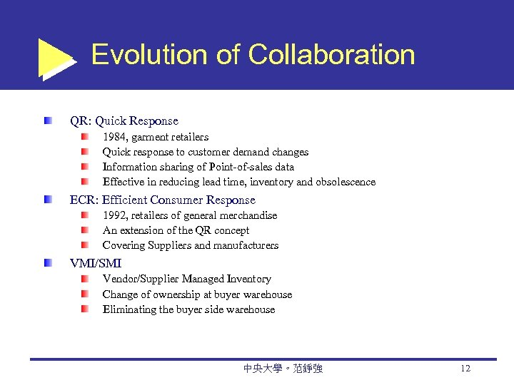 Evolution of Collaboration QR: Quick Response 1984, garment retailers Quick response to customer demand