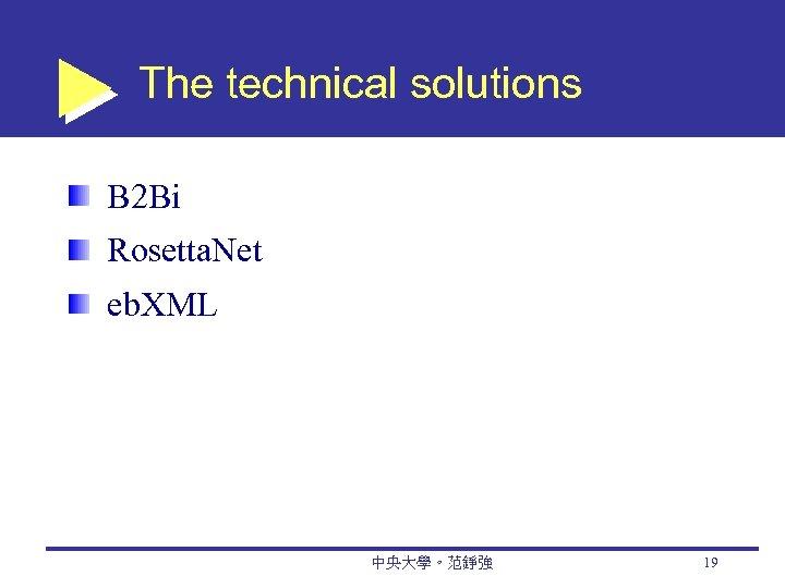 The technical solutions B 2 Bi Rosetta. Net eb. XML 中央大學。范錚強 19