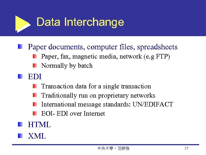 Data Interchange Paper documents, computer files, spreadsheets Paper, fax, magnetic media, network (e. g