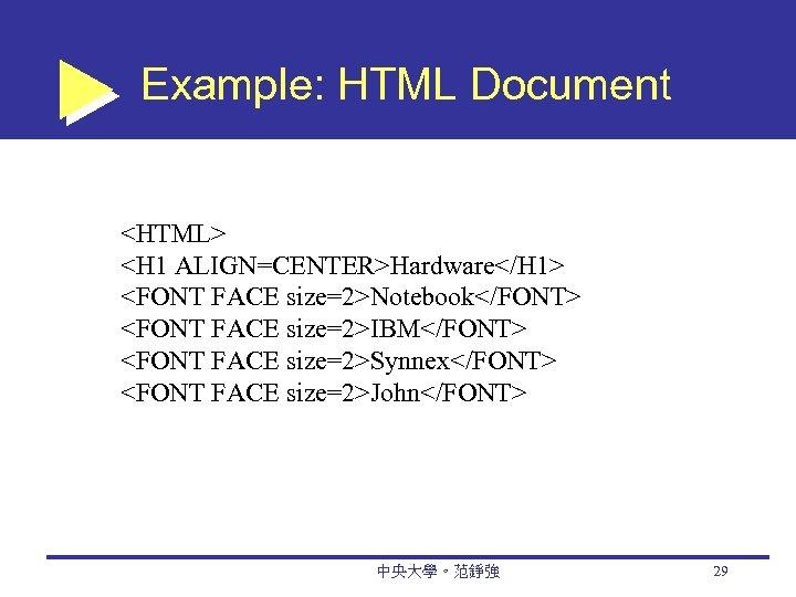 Example: HTML Document <HTML> <H 1 ALIGN=CENTER>Hardware</H 1> <FONT FACE size=2>Notebook</FONT> <FONT FACE size=2>IBM</FONT>