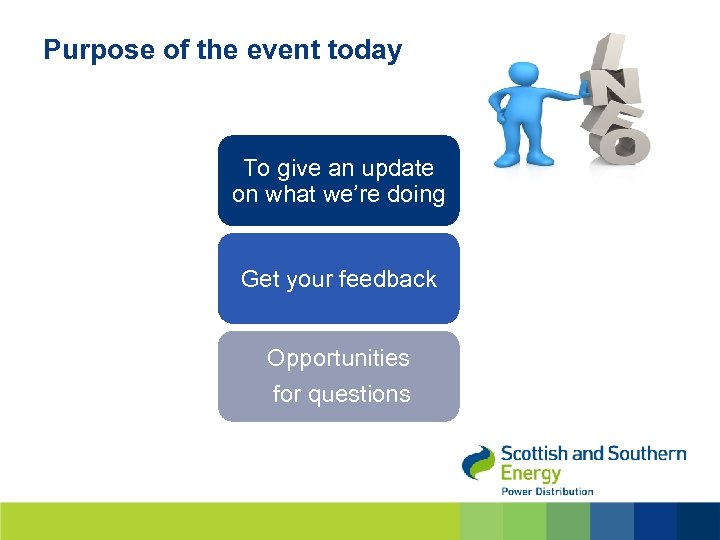 Purpose of the event today To give an update on what we're doing Get
