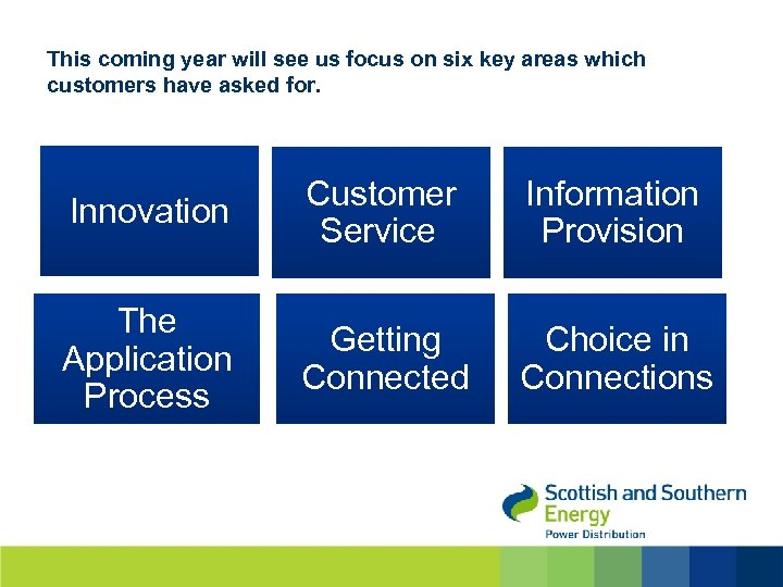 This coming year will see us focus on six key areas which customers have
