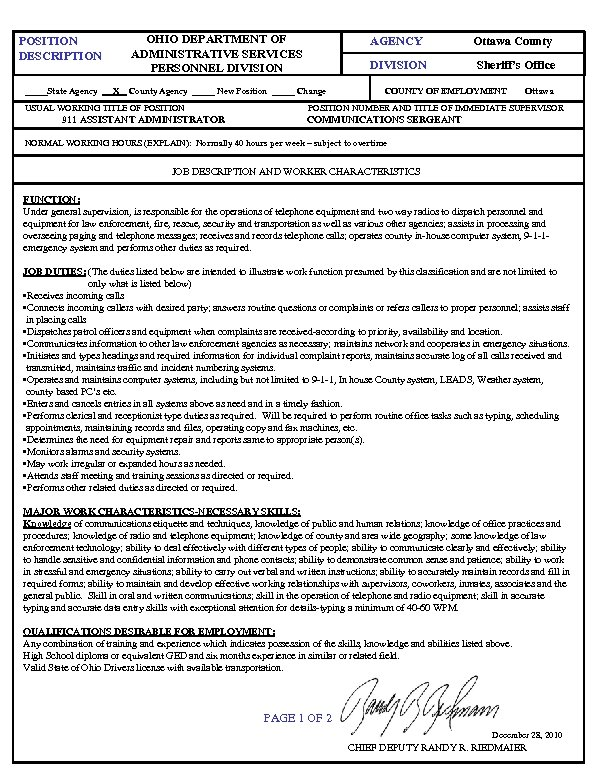OHIO DEPARTMENT OF ADMINISTRATIVE SERVICES PERSONNEL DIVISION POSITION DESCRIPTION _____State Agency X AGENCY DIVISION