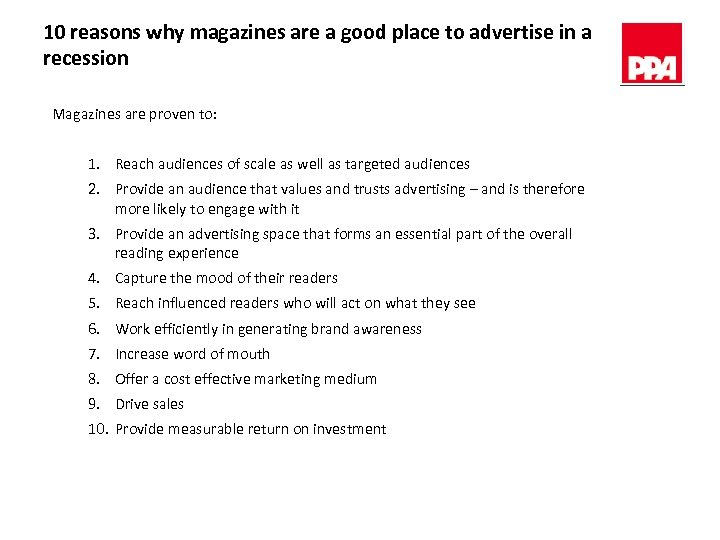 10 reasons why magazines are a good place to advertise in a recession Magazines