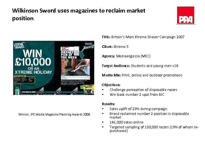 Wilkinson Sword uses magazines to reclaim market position Title: Britain's Most Xtreme Shaver Campaign