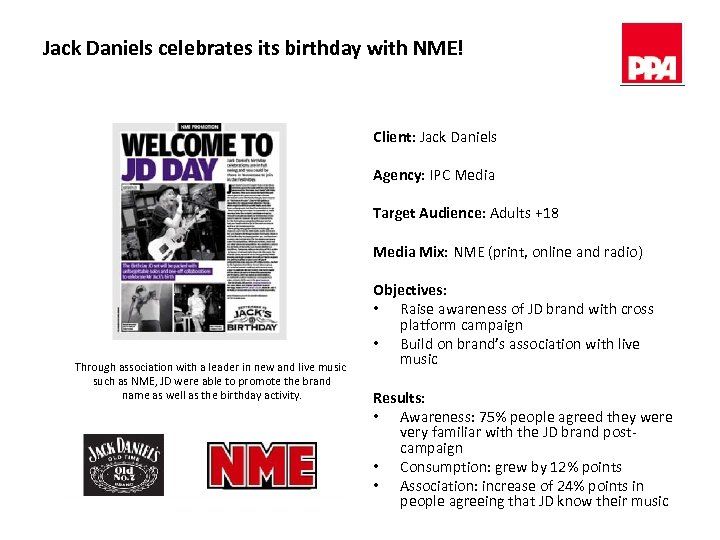 Jack Daniels celebrates its birthday with NME! Client: Jack Daniels Agency: IPC Media Target