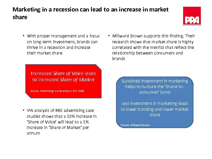 Marketing in a recession can lead to an increase in market share • With