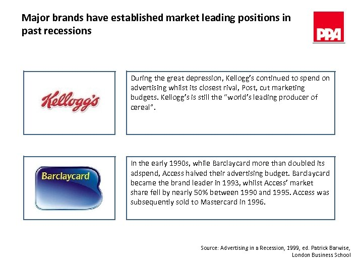 Major brands have established market leading positions in past recessions During the great depression,