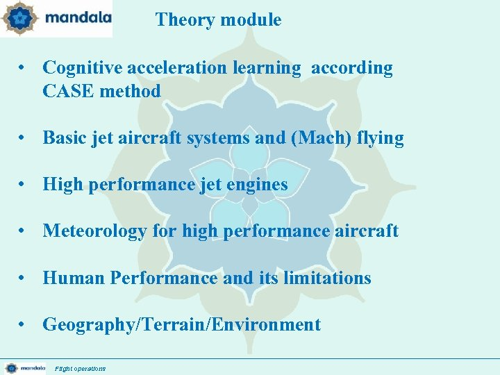 Theory module • Cognitive acceleration learning according CASE method • Basic jet aircraft systems