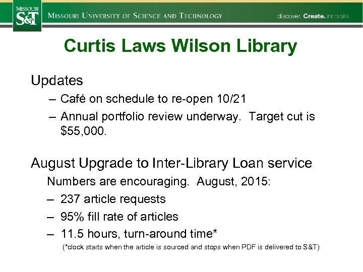 Curtis Laws Wilson Library Updates – Café on schedule to re-open 10/21 – Annual