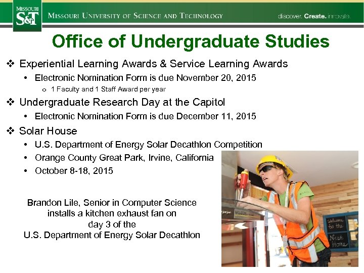Office of Undergraduate Studies v Experiential Learning Awards & Service Learning Awards • Electronic
