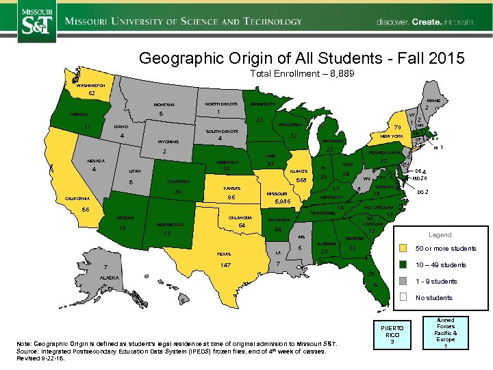 Geographic Origin of All Students - Fall 2015 Total Enrollment – 8, 889 WASHINGTON