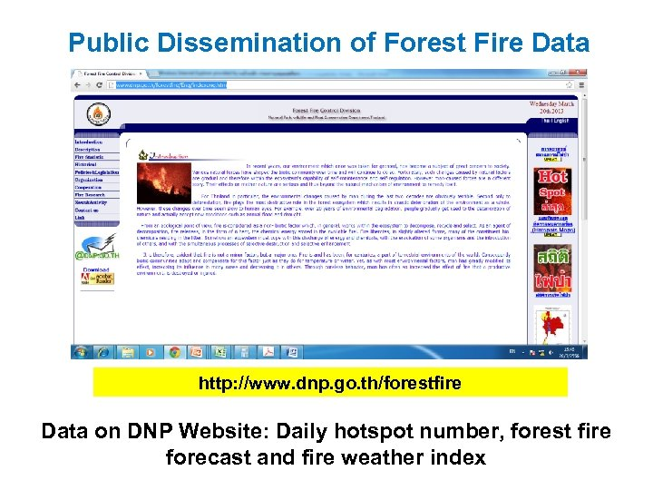 Public Dissemination of Forest Fire Data http: //www. dnp. go. th/forestfire Data on DNP