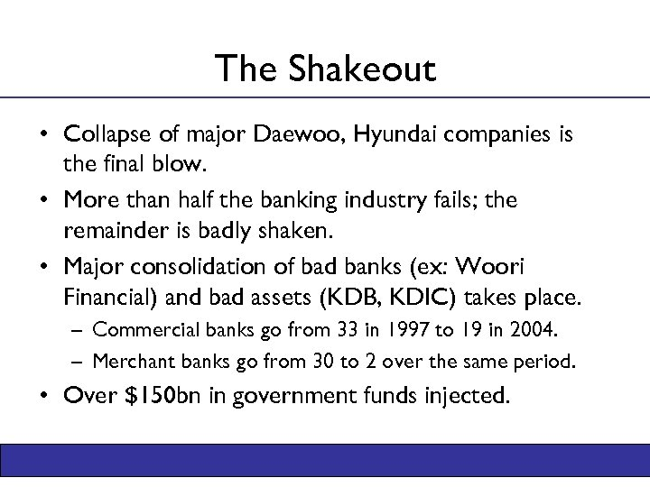 The Shakeout • Collapse of major Daewoo, Hyundai companies is the final blow. •