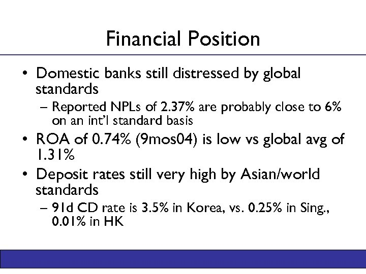 Financial Position • Domestic banks still distressed by global standards – Reported NPLs of