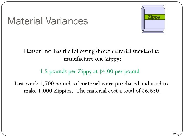 Material Variances Zippy Hanson Inc. has the following direct material standard to manufacture one